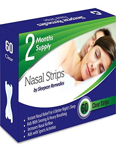 Nasenpflaster Transparent x60 | Sleepeze Remedies® Nasenstrips stoppen das Schnarchen und helfen Ihnen direkt durch die Nase zu atmen | Premium Qualität Nasenstrips gegen Schnarchen, Schnarchreduktion