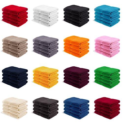 EllaTex Handtuch-Set aus Serie Paris 0040076 100% Baumwolle 500 Gramm/m², Farbe:Weinrot, Größe:4er Packung 50 x 100cm - Handtücher