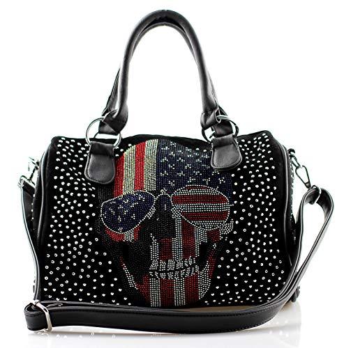 Damen Handtasche Totenkopf Skull Bone Bowling Bag Gothic Punk Damentasche Stars Stripes Amerika Punk Rock Pop Glitzer-Schimmereffekt Strassoptik Bowling Bag