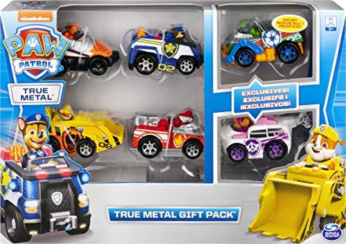PAW Patrol 6058350 - True Metal Geschenkset mit sechs Metall - Fahrzeugen - Carbon Fiber Version