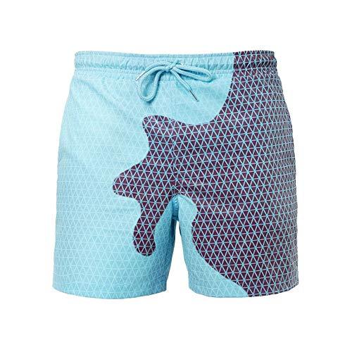 Farbwechselnde Badehose für Herren, DOTBUY Geometrischer Druck Männer Farbwechsel Badeshorts Temperaturempfindliche Farbwechselnde Strandshorts Sommer Surf Strandhose (M,Blau)