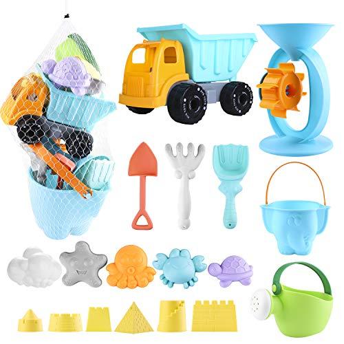 balnore Kinder Junge Mädchen Strandspielzeug, 20 Stück Sandspielzeug Set in wiederverwendbarer Netzbeutel mit Eimer Auto Tiere Schloss und andere Werkzeuge Macaron