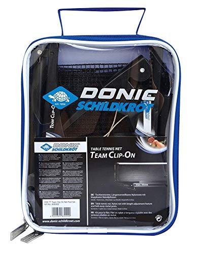 Donic-Schildkröt Tischtennisnetz Team Clip-On, klappbare Netzpfosten, mit praktischer Clip-Befestigung, max. Plattenstärke 3,5 cm, in Tragetasche, 808302