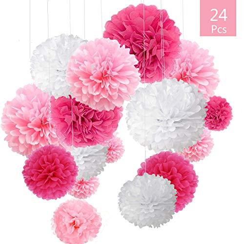 O-Kinee 24er Rosa Deko Seidenpapier Pompons für Hochzeit, Taufe Mädchen, Geburtstag, Party,Kommunion,Valentinstag Muttertag JGA Deko weiß rosa