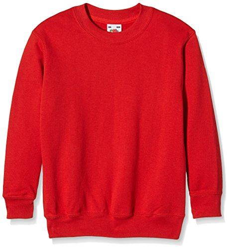 Fruit of the Loom Jungen Regular Fit Sweatshirt, Rot (Rot 40), Gr. 128 CM (Herstellergröße: 7/8 Jahre )