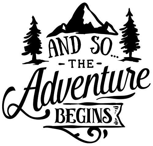 Samunshi The Adventure Begins Schriftzug Aufkleber Sticker Autoaufkleber Scheibenaufkleber Motorradaufkleber in 10 Größen (8x7,6cm schwarz)
