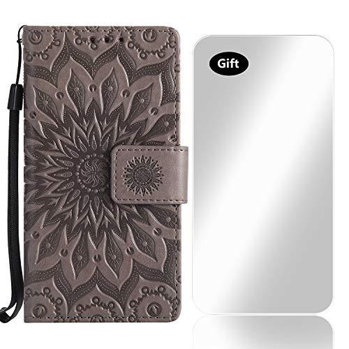 Sony Xperia XZ2 Hülle, Bear Village® Leder PU Cover Magnet Filp Brieftasche Schutzhülle mit Kostenlos Schutzfilm aus Gehärtetem Glas für Sony Xperia XZ2 (#2 Grau)