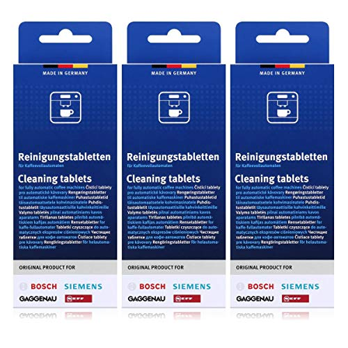 3x Bosch TCZ6001 ( 30 Stk. ) Reinigungstabletten für Kaffeevollautomaten TCA 5, TCA 6, TCA 7,