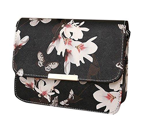 Minetom Damen Maedchen Floral Schmetterling Steppmuster Muster Mini PU Leder Handtasche Schultertaschen Messenger Purse UmhäNgetasche Schwarz One size