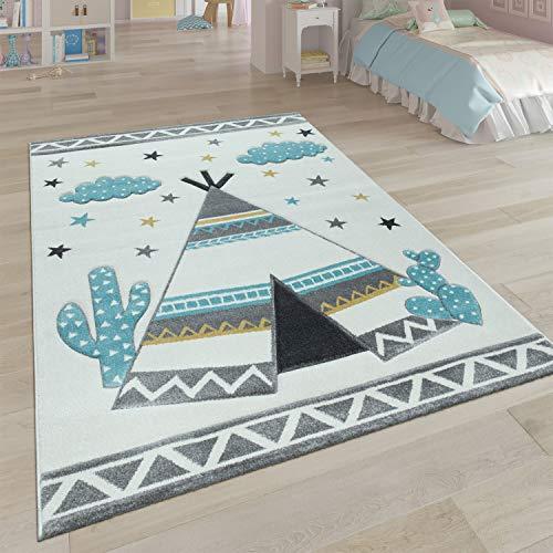 Paco Home Kinder-Teppich, Kinderzimmer Pastell Farben, Indianer-Zelt Motiv 3-D, in Cream Grau, Grösse:160x230 cm