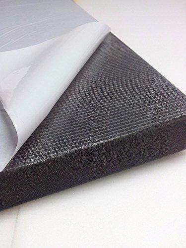 Glatt Schaumstoff Selbstklebend Dämmung Schallschutz mail (100cm x 50cm x h) Weiß o. Schwarz (100x50x5, Anth/Schwarz)