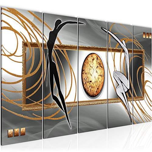 Bilder Abstrakt Figuren Wandbild 150 x 60 cm Vlies - Leinwand Bild XXL Format Wandbilder Wohnzimmer Wohnung Deko Kunstdrucke Grau 5 Teilig - MADE IN GERMANY - Fertig zum Aufhängen 302556c