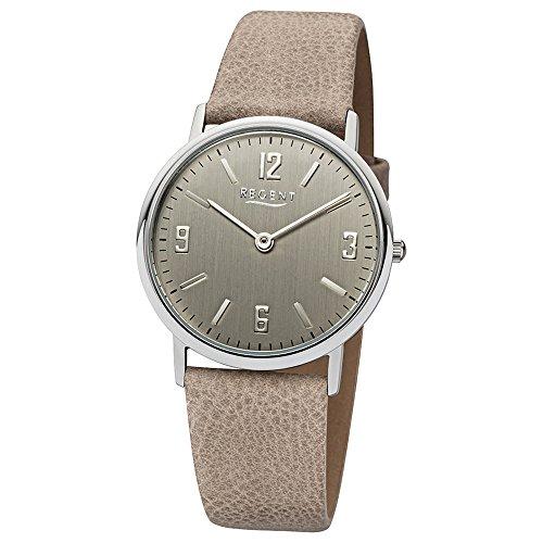 Regent Damen-Armbanduhr beige Hellbraun Analog LD-1610 Leder-Armband URLD1610 Analoguhr