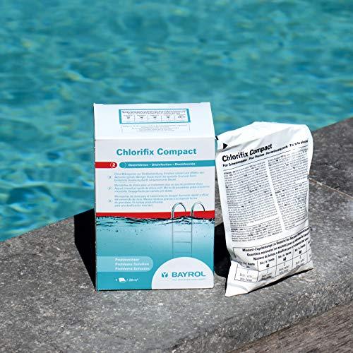 BAYROL Chlorifix Compact - Schnell lösliches Chlorgranulat mit sehr hohem Aktivchlor Gehalt - organisch - 3 Beutel - 1,2 kg - 20 m³