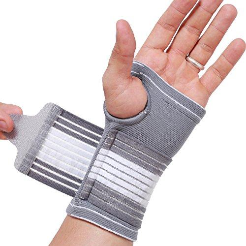 Neotech Care - Handflächenstütze mit Daumenteil (1 Einheit) - verstellbarer Kompressionsriemen - elastischer & atmungsaktiver Stoff - für Sehnenentzündung, Sport, Bowling, Boxen - Grau - M