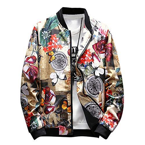 Ansenesna Jacke Herren Blumen Aufdruck Stehkragen Elegant Herbst Winter Pullover Männer Vintage Freizeit Outdoor Mantel