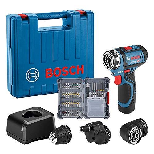 Bosch Professional 12V System Akku-Bohrschrauber GSR 12V-15 FC (inkl. 1x2.0 Ah Akku, Schnelladegerät GAL 12V-20, 3x Flexi-Click Aufsätze, 40tlg. Zubehörset, Koffer) - FlexiClick System, Amazon Edition