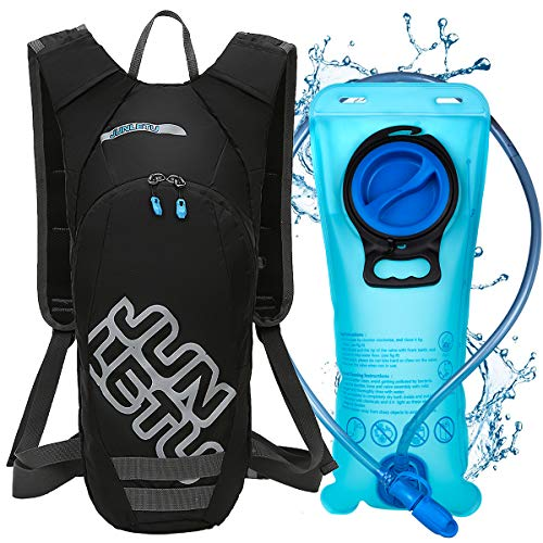 LUROON Trinkrucksack mit 2L Trinkblase Hydration Backpack für Damen Herren, Sportrucksack mit Helmnetz für Klettern Trekking Radfahren Jogging Marathon Camping (Schwarz)