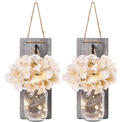 2 Stück Mason Jar LED Lichterketten,Wandleuchten Rustikale Wand Holz-Deko und Künstliche Blumen,Wandkerzenhalter LED Licht für Home Wohnzimmer Dekoration,Schlafzimmer,Glas Weihnachtsdeko (Grau)