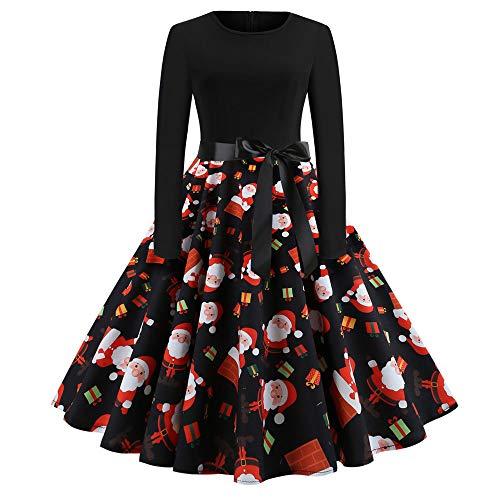 VEMOW Heißer Weihnachten Abendkleid Langarm O-Ausschnitt Cocktailkleid Casual Täglichen Druck Vintage Kleid Abend Party Kleid Herbst Winter Frühling(Y4-Schwarz, 38 DE/XL CN)