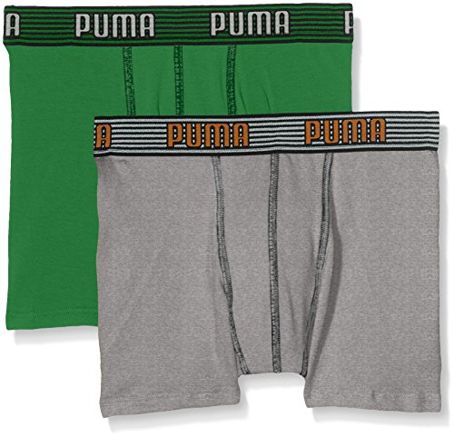 PUMA Jungen Elastic Striped Basic Boxer 2P Unterhose, Amazon Green, 140