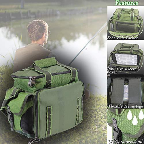 MQ ANGELTASCHE inkl. 4 LEERBOXEN   Boxen-Tasche für Angel-Zubehör Köder-Boxen Wasser-Abweisend ak 907