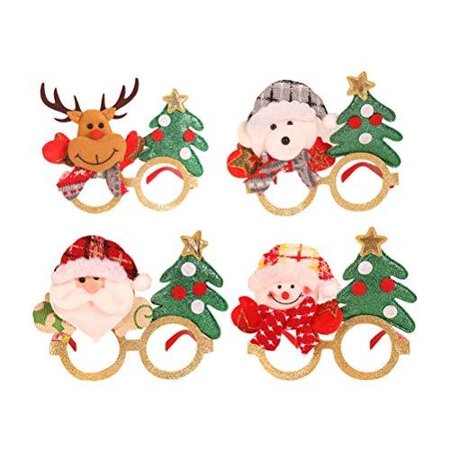 Sarplle Weihnachten Brillengestell 4 Stücke Kreative Weihnachten Brillen Rahmen Weihnachtsschmuck mit Lichtern für Neujahr, Geburtstag, Hochzeit