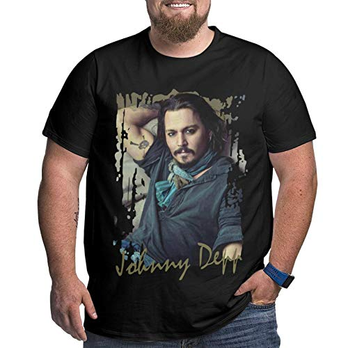 Johnny Depp Herren T-Shirt Plus Size Xl-6xl Kurzarm T-Shirt Rundhals Baumwolle Sport Tops 6XL
