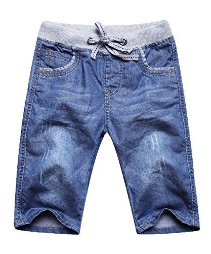 Echinodon Jungen Jeans Shorts 1/2 Kurze Hose Kinder Sommer Jeanshose Weich/Dünn/Atmungsaktiv 128