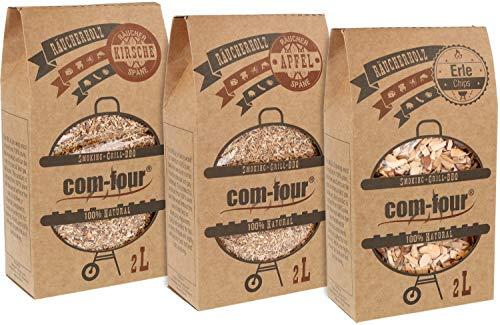 com-four® 3X Premium-Pack aus Räucherchips und Räucherspänen - 100% natürliches Raucharoma Apfel, Erle, Kirsche - für Smoker, Kugelgrill, Standgrill und Gas-Grill - 1,5 kg (Apfel|Erle|Kirsche)