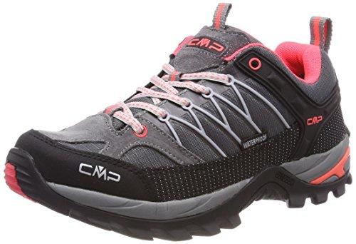 CMP Campagnolo Damen Rigel Low Wmn Shoe Wp Trekking- & Wanderhalbschuhe, Grau (Grey-Red Fluo), 37 EU