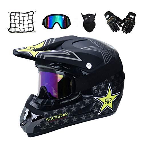 MRDEAR Motorrad Crosshelm mit Brille (5 Stück) - Schwarz/Rockstar - Adult Motocross Helm Erwachsener Off Road Fullface MTB Helm Mopedhelm Motorradhelm für Damen Herren Sicherheit Schutz,M