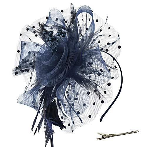 DRESHOW Fascinators Hut Blume Mesh Bänder Federn auf einem Stirnband und einem geteilten Clip Cocktail Tea Party Headwear für Mädchen und Frauen,Navy,Einheitsgröße
