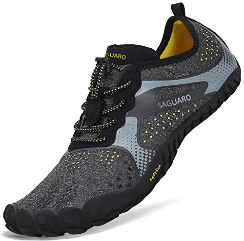 Sommer Barfußschuhe Herren Trail Laufschuhe Damen Indoor Outdoor Sport Fitnessschuhe Leicht Zehen Wander Trekking Schuhe für Frauen Männer Schwarz Gr.42