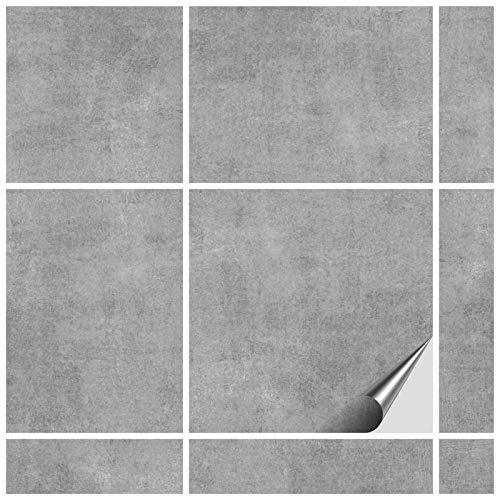 FoLIESEN Fliesenaufkleber 15x15 cm - Fliesen-Folie Bad - Klebefolie Küche - 120 Klebefliesen, Dekor Greydi