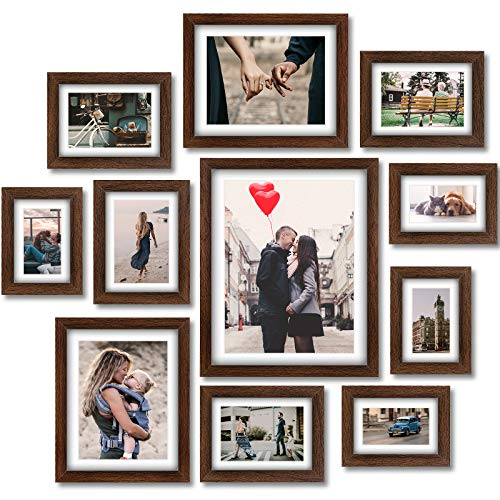 Homemaxs 12er Rustikaler Bilderrahmen Set - Holz Fotorahmen Galerie Wandrahmen Set für Tischplatte oder Wohnkultur mit Matte - 4 STK 10 x15cm  4 STK 13 x 18cm  2 STK 15 * 20cm  1 STK 28 * 35cm