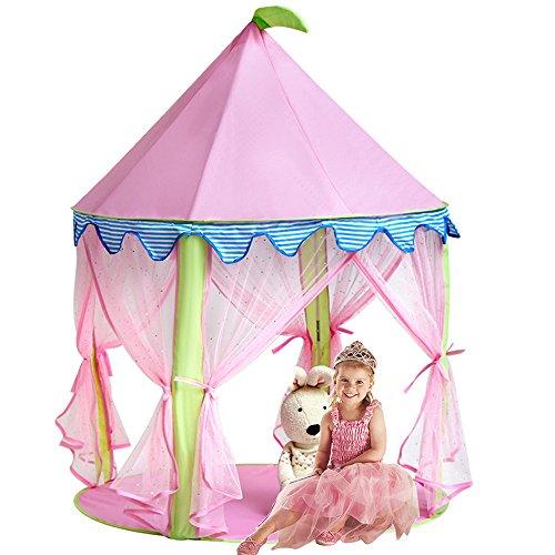 Mädchen Prinzessin Schloss Zelt, Sonyabecca Rosa Spielhaus für Mädchen Pop up Zelt Lesesaal