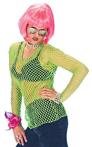 Neon Netz Shirt Grün - Tolles Hemd in Netzoptik für Rocker, Bad Taste oder Disco Kostüme Karneval oder Mottoparty