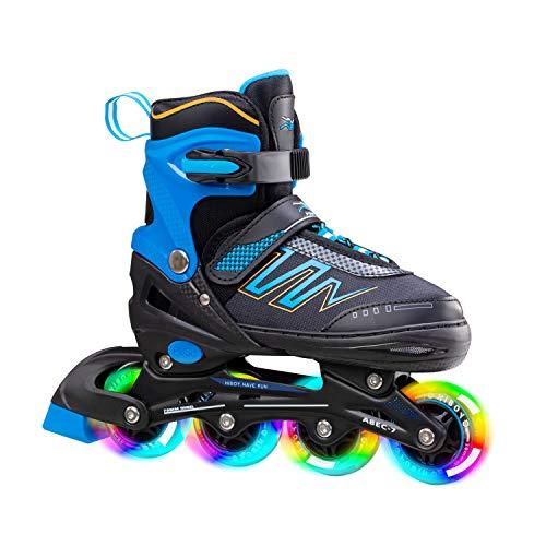 Hiboy verstellbare Inline-Skates mit Allen beleuchteten Rädern, beleuchteten Outdoor- und Indoor-Rollschuhen für Jungen, Mädchen, Anfänger (Small 31-34, Blue)