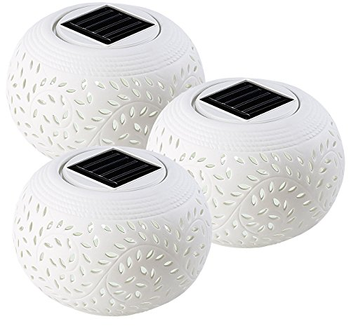 Lunartec Solar Dekoleuchte Garten: 3er-Set Solar-Dekoleuchten aus Porzellan, mit Farbwechsel/warmweiß (LED Farbwechsel)