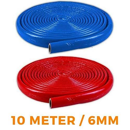 6mm NMC Isolierschlauch 15/18/22/28/35 10m Rohrisolierung BLAU/ROT (6mm x 22mm x 10m, Blau)