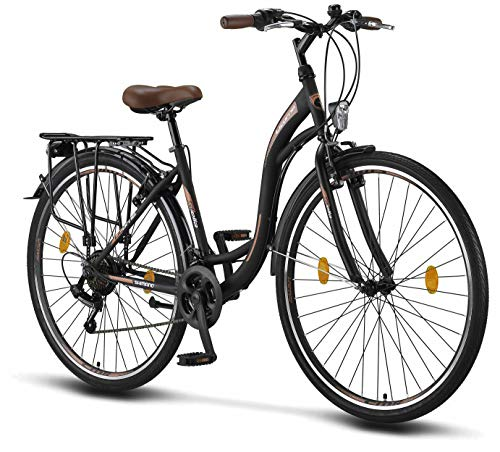Licorne Bike Premium City Bike in 28 Zoll - Fahrrad für Mädchen, Jungen, Herren und Damen - Shimano 21 Gang-Schaltung - Hollandfahrrad - Stella Bike - Schwarz
