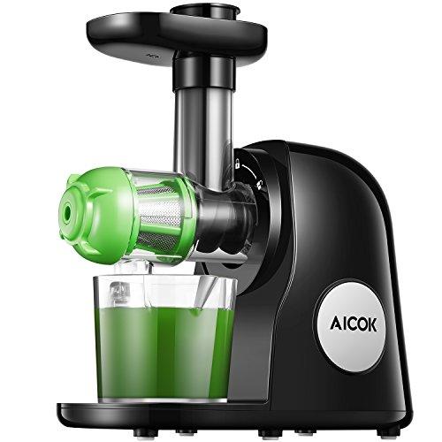 Entsafter Kauen Slow Juicer, Aicok BPA Frei Entsafter Gemuese und Obst, Ruhiger Motor und Umkehrfunktion, Kältepresse Entsafter Leicht mit Pinsel zu reinigen, Rezepte für Gemüse und Früchte
