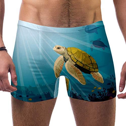 Lorvies, niedliche gelbe Schildkröte und Korallenriffe mit Fischen, blaues Meer, Unterwasser-Boxershorts, kurzes, quadratisches Bein, Badeanzug, schnell trocknend, Größe S Gr. S 7-9, multi