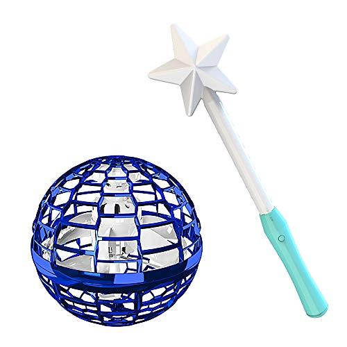 You's Auto Fliegender Ball Spielzeug,360 °Drehung Flying Ball Bumerang mit Einem Magischen Controller und Bunten LED Lichtern Infrarot Induktions Fliegendes Spielzeug für Kinder Erwachsene (Blau)