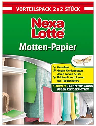 Nexa Lotte Mottenschutzpapier, Schützt effektiv bis zu 6 Monate vor Kleidermotten und Pelzkäferlarven, Vorteilspack 2x2 Streifen