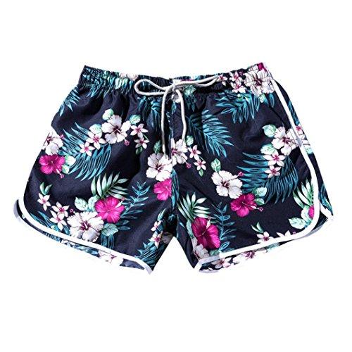 2018 Sommer Männer Damen Paare Strand Floral Bohe Badeshorts Badehose gedruckt Hosen Plus Größe GreatestPAK Weiß Rot