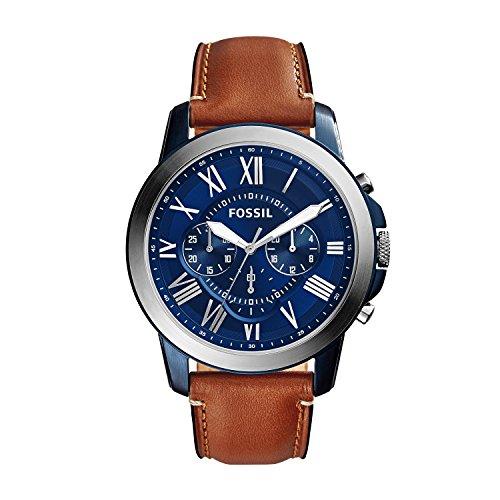Fossil Chronograph Herren Uhr mit Leder Armband FS5151
