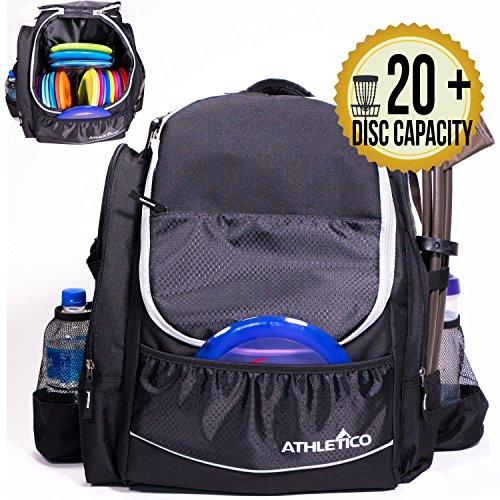 Athletico Power Shot Disc Golf-Rucksack | 20+ Disc Kapazität | Pro oder Anfänger Disc Golftasche | Unisex Design, schwarz
