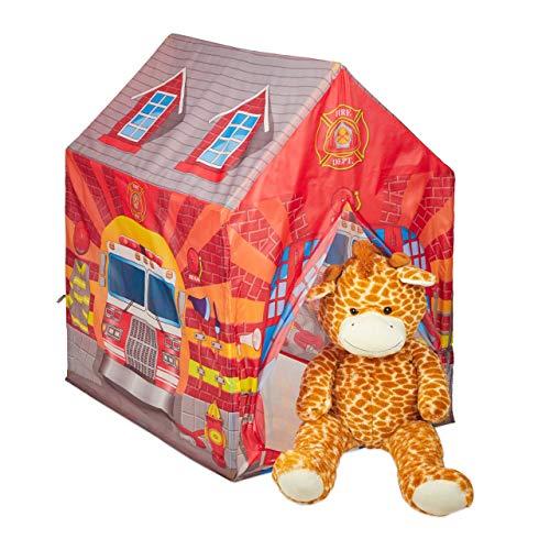 Relaxdays Feuerwehr Kinderzelt, großes Kinderspielzelt für Jungen, fürs Kinderzimmer, ab 3 Jahren, 103 x 71 x 94 cm, rot 10028886